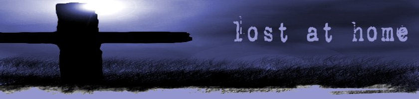 header image with cross and lost at home title text